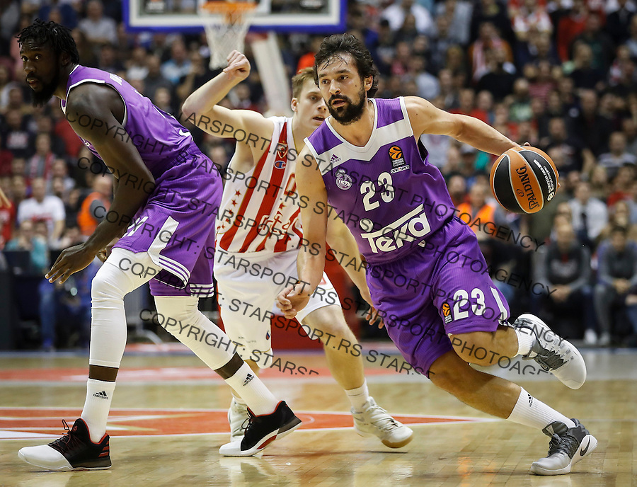 BELGRADE, SERBIA - DECEMBER 22: Sergio Llull (R) of Real Madrid in action against Nate Wolters (L) of Crvena Zvezda during the 2016/2017 Turkish Airlines EuroLeague Regular Season Round 14 game between Crvena Zvezda MTS Belgrade and Real Madrid at Aleksandar Nikolic Hall on December 22, 2016 in Belgrade, Serbia. (Photo by Srdjan Stevanovic/Getty Images)