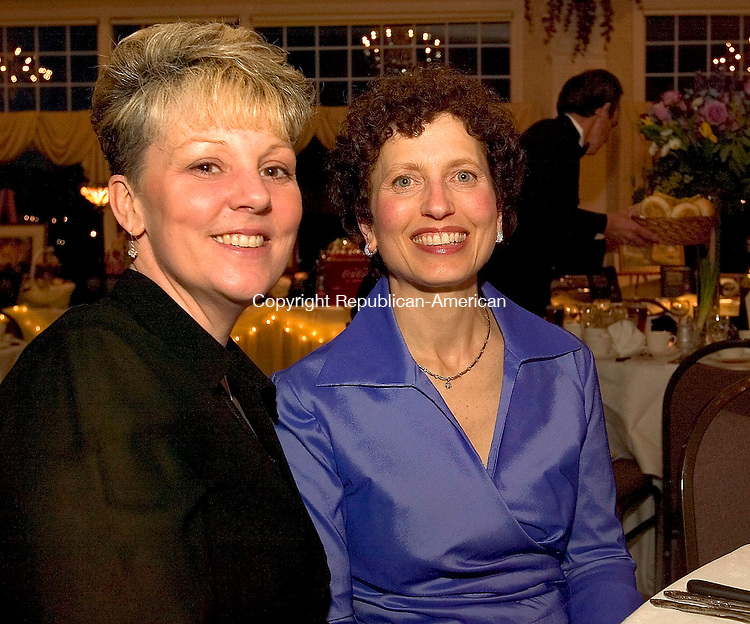 SOUTHINGTON, CT- 09 APRIL 2005-040905J07--Melissa Seres, left, and Karen Sabbath of the Harold Leever Cancer Center at the American Cancer Society's 4th annual Hope Gala held Saturday at the Aqua Turf in Southington.  --- Jim Shannon Photo--Melissa Seres; Karen Sabbath; Harold Leever Cancer Center, American Cancer Society; Southington; Aqua Turf are CQ
