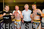 David O'Sullivan, Danny Leane, ref Denis Brosnan and Prezemek Renk (Galway) in the ring at the Champion Thai boxing night in the Mount Brandon Hotel last Saturday night.