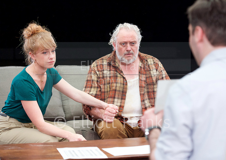 Forget Me Not <br /> by Tom Holloway <br /> directed by Steven Atkinson<br /> at The Bush Theatre, London, Great Britain <br /> press photocall <br /> 10th December 2015 <br /> <br /> Russell Floyd (as Gerry)<br /> <br /> Sarah Ridgeway (as Sally)<br /> Sargon Yelda (as Mark)<br /> <br />  <br /> Photograph by Elliott Franks <br /> Image licensed to Elliott Franks Photography Services