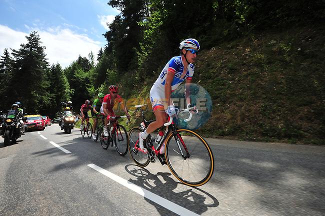 The breakaway group featuring Alexandre GENIEZ (FRA) FDJ, Nicolas EDET (FRA) Cofidis, Ramunas NAVARDAUSKAS (LTU) Cannondale-Garmin and Lars Yting BAK (DEN) Lotto-Soudal during Stage 20 of the 2015 Tour de France running 110.5km from Modane Valfrejus to Alpe d'Huez, France. 25th July 2015.<br /> Photo: ASO/B.Bade/Newsfile