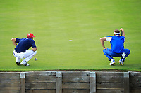 Ian Poulter (Team Europe) and Dustin Johnson (Team USA) during the sunday singles at the Ryder Cup, Le Golf National, Paris, France. 30/09/2018.<br /> Picture Phil Inglis / Golffile.ie<br /> <br /> All photo usage must carry mandatory copyright credit (&copy; Golffile | Phil Inglis)