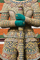 Indrajit Giant statue guards an entrance to Wat Phra Kaeo, Bangkok, Thailand