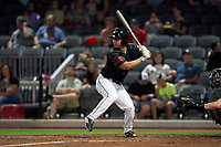 Fayetteville Woodpeckers Cal Stevenson (11) at bat during a Carolina League game against the Down East Wood Ducks on August 13, 2019 at SEGRA Stadium in Fayetteville, North Carolina.  Fayetteville defeated Down East 5-3.  (Mike Janes/Four Seam Images)