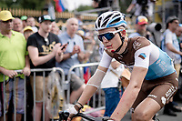 A blooded Benoit Cosnefroy (FRA/AG2R-La Mondiale) crossing the finish line last (after a crash split the peloton in the race finale)<br /> <br /> Stage 1: Brussels to Brussels (BEL/192km) 106th Tour de France 2019 (2.UWT)<br /> <br /> ©kramon