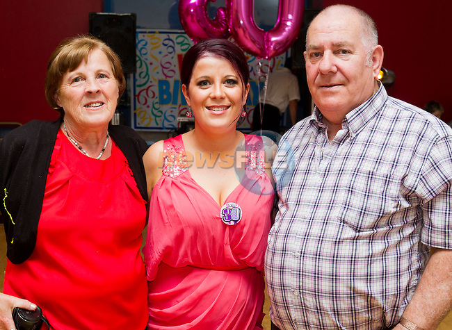 Barbara Connor with her parents, celebrating her 30th birthday in the Thatch..Picture: Shane Maguire / www.newsfile.ie.
