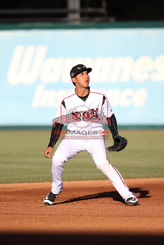 Javier Guerra (12) of the Lake Elsinore Storm during a game against the High Desert Mavericks at The Diamond on April 27, 2016 in Lake Elsinore, California. High Desert defeated Lake Elsinore, 10-2. (Larry Goren/Four Seam Images)