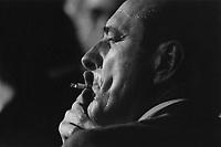 Jacques Chirac, Premier ministre et candidat à l'élection présidentielle de 1988, s'exprime sur les grandes lignes de son projet pour l'élection présidentielle de 1988, Longchamp le 4 mars 1988 - ©Jean-Claude Coutausse / french-politics pour Libération