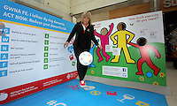 Pictured: Elena Jones takes the keepy uppy challenge Saturday 18 Saturday<br />Re: Welsh Government Dementia Risk Prevention Roadshow at the Quadrant Shopping Centre in Swansea, Wales, UK.