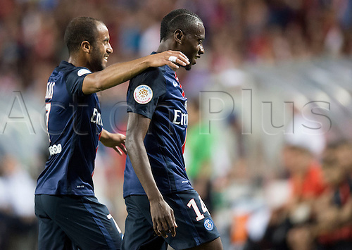 29.07.2015. Chicago, IL, USA. Paris Saint-Germain midfielder Blaise Matuidi (14) and midfielder Lucas Moura (7) celebrate a goal during the Guinness International Champions Cup game between Manchester United and Paris Saint-Germain hosted at Soldier Field in Chicago, IL.