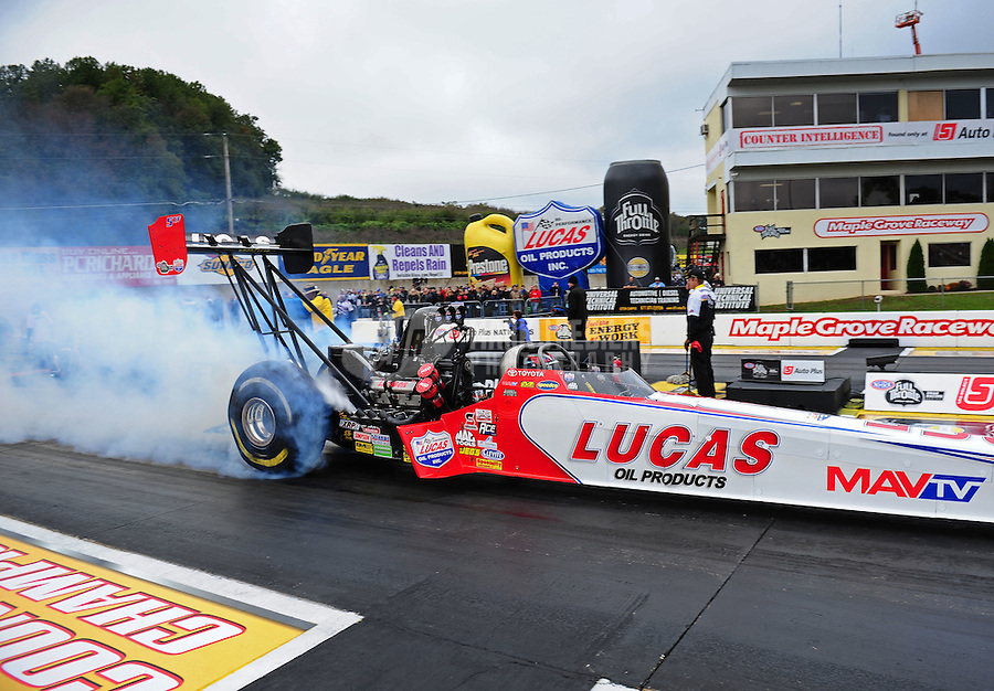 Oct. 2, 2011; Mohnton, PA, USA: NHRA top fuel dragster driver Shawn Langdon during the Auto Plus Nationals at Maple Grove Raceway. Mandatory Credit: Mark J. Rebilas-