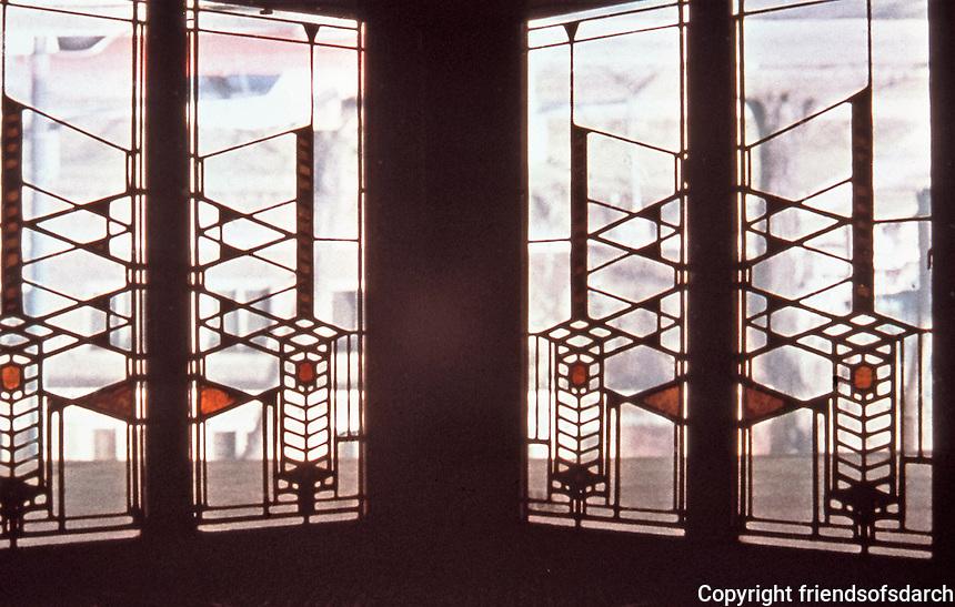 Frank Lloyd Wright: Dana House, Springfield, IL., 1902-1904.   Stained glass window detail. ( Photo Feb. 1988.)