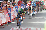 Green Jersey Alejandro Valverde (ESP) Movistar Team crosses the finish line at the end of Stage 4 of the La Vuelta 2018, running 162km from Velez-Malaga to Alfacar, Sierra de la Alfaguara, Andalucia, Spain. 28th August 2018.<br /> Picture: Colin Flockton   Cyclefile<br /> <br /> <br /> All photos usage must carry mandatory copyright credit (&copy; Cyclefile   Colin Flockton)