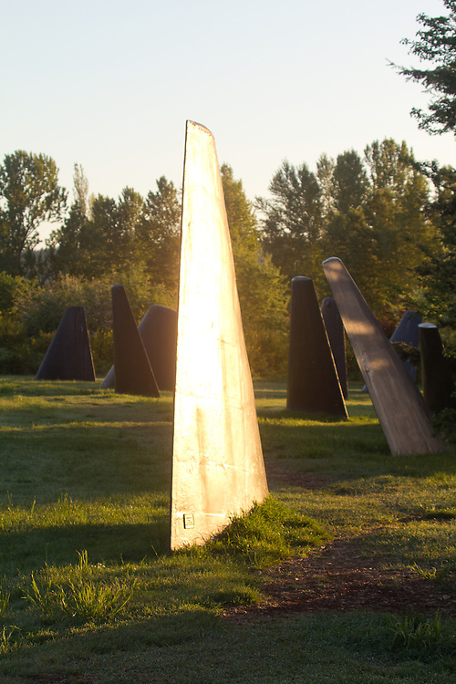 Seattle, ?The Fin Project: From Swords to Plowshares?, Warren G. Magnuson Park, Sand Point,  Made from submarine fins, this sculptural installation is arranged to represent a pod of whales. Dedicated in 1998, this art work was created by John T. Young, sunrise,