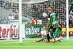 Stockholm 2014-06-18 Fotboll Superettan Hammarby IF - GAIS :  <br /> Hammarbys Marko Mihajlovic har en m&aring;lchans p&aring; nick i den andra halvleken framf&ouml;r GAIS m&aring;l<br /> (Foto: Kenta J&ouml;nsson) Nyckelord:  Superettan Tele2 Arena Hammarby HIF Bajen GAIS