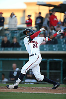 Wes Rogers (24) of the Lancaster JetHawks bats against the San Jose Giants at The Hanger on May 5, 2017 in Lancaster, California. San Jose defeated Lancaster, 4-2. (Larry Goren/Four Seam Images)