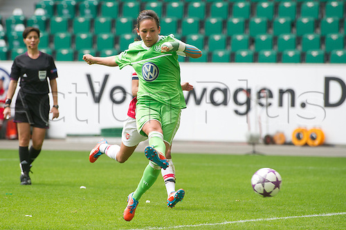 21.04.2013. Wolfsburg, Germany. Womens Champions League, Wolfsburg versus Arsenal, second leg.  Wolfsburg's Nadine Kessler scores for 2:1 during the match