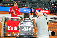 Serbian Novak Djokovic with the championship awards during  TPA Finals Mutua Madrid Open Tennis 2016 in Madrid, May 08, 2016. (ALTERPHOTOS/BorjaB.Hojas) /NortePhoto.com