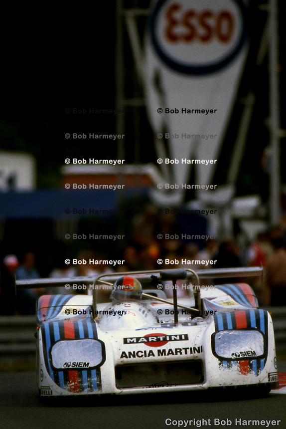 LE MANS, FRANCE: The Lancia Martini LC1 001003 of Hans Heyer, Riccardo Patrese and Piercarlo Ghinzani being driven to a class victory in the Group 6 category in the 24 Hours of Le Mans on June 20, 1982, at Circuit de la Sarthe in Le Mans, France.