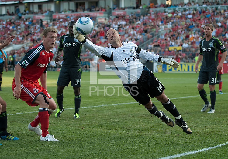 Seattle Sounders FC goalkeeper Kasey Keller #18 in action during an MLS game between the Seattle Sounders FC and the Toronto FC at BMO Field in Toronto on June 18, 2011.