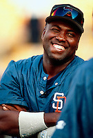 Tony Gwynn of the San Diego Padres during a game at Dodger Stadium in Los Angeles, California during the 1997 season.(Larry Goren/Four Seam Images)