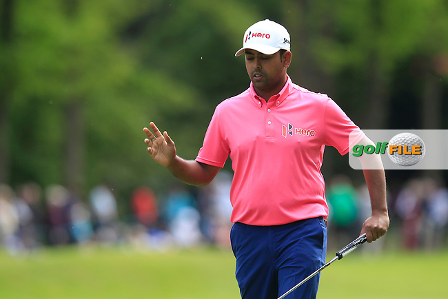 Anirban Lahiri (IND) during round 2 of the 2015 BMW PGA Championship over the West Course at Wentworth, Virgina Water, London. 22/05/2015<br /> Picture Fran Caffrey, www.golffile.ie: