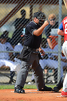 Umpire Zach Tieche during a Gulf Coast League game between the GCL Tigers and GCL Phillies on July 16, 2013 at Tiger Town in Lakeland, Florida.  GCL Tigers defeated GCL Phillies 8-6.  (Mike Janes/Four Seam Images)