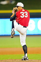 Carolina League All-Star pitcher Shawn Armstrong #33 of the Carolina Mudcats in action against the California League All-Stars during the 2012 California-Carolina League All-Star Game at BB&T Ballpark on June 19, 2012 in Winston-Salem, North Carolina.  The Carolina League defeated the California League 9-1.  (Brian Westerholt/Four Seam Images)