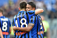 Luis Muriel of Atalanta BC celebrates with Ruslan Malinovskyi after scoring the goal of 0-2 <br /> Roma 19-10-2019 Stadio Olimpico <br /> Football Serie A 2019/2020 <br /> SS Lazio - Atalanta<br /> Foto Andrea Staccioli / Insidefoto