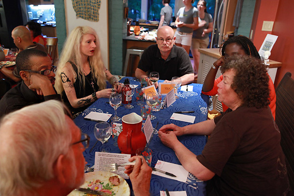 (110615RREI5107) Perfect Girls conversation dinner. Washington DC June 15, 2011 © Rick Reinhard 2011