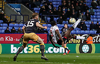 Bolton Wanderers' Clayton Donaldson shoots at goal with an overhead kick <br /> <br /> Photographer Andrew Kearns/CameraSport<br /> <br /> The EFL Sky Bet Championship - Bolton Wanderers v Sheffield Wednesday - Tuesday 12th March 2019 - University of Bolton Stadium - Bolton<br /> <br /> World Copyright © 2019 CameraSport. All rights reserved. 43 Linden Ave. Countesthorpe. Leicester. England. LE8 5PG - Tel: +44 (0) 116 277 4147 - admin@camerasport.com - www.camerasport.com