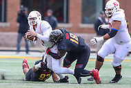 College Park, MD - November 26, 2016: Maryland Terrapins defensive lineman Cavon Walker (18) sacks Rutgers Scarlet Knights quarterback Giovanni Rescigno (17) during game between Rutgers and Maryland at  Capital One Field at Maryland Stadium in College Park, MD.  (Photo by Elliott Brown/Media Images International)