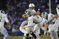 22 November 2008:  Penn State DT Jared Odrick (91) hits Michigan State QB Brian Hoyer (7) as he releases the ball, which resulted in an interception.  The Penn State Nittany Lions defeated the Michigan State Spartans 49-18 to win the Land Grant Trophy and 2008 Big Ten Conference Championship at Beaver Stadium in State College, PA..