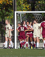 Florida State forward/defender Toni Pressley (23) celebrates her penalty kick score. Florida State University defeated Boston College, 1-0, at Newton Soccer Field, Newton, MA on October 31, 2010.