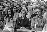 US Senator George S. McGovern Democrat from South Dakota visited Modesto, California to hold a Hearings of the US Senate select committee on nutrition and human needs on March 23, 1970.  Hearing subject was the Modesto Board of Education's decision to withdraw from the National School Lunch Program.  Over 200 persons crowed into the King-Kennedy Memorial Center on Modesto's West Side to hear different viewpoints.  Photo By Al Golub