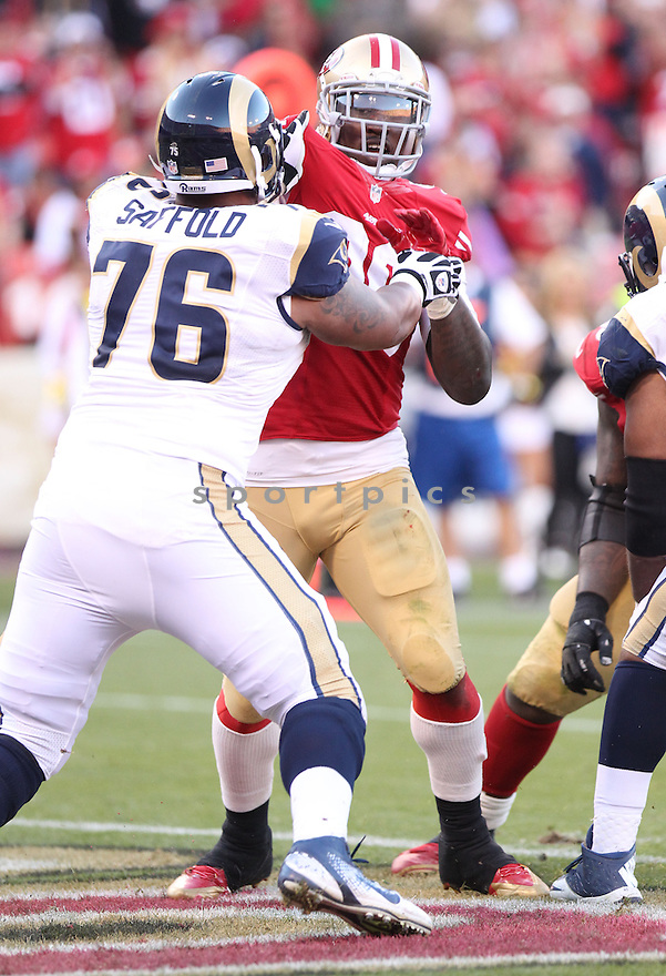 San Francisco 49ers Aldon Smith (99) during a game against the St. Louis Rams on December 1, 2013 at Candlestick Park in San Francisco, CA. The 49ers beat the Rams 23-13.