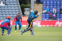 Isuru Udana (Sri Lanka) drives high over long off during Afghanistan vs Sri Lanka, ICC World Cup Cricket at Sophia Gardens Cardiff on 4th June 2019