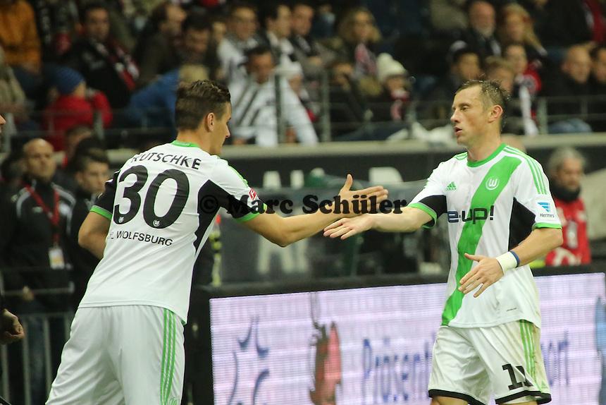 Stefan Kutschke (Wolfsburg) kommt für Ivica Olic (Wolfsburg) - Eintracht Frankfurt vs. VfL Wolfsburg, Commerzbank Arena