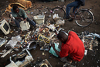 Computer monitors are broken apart to salvage metal and circuit boards, at Agbogbloshie dump, which has become a dumping ground for computers and electronic waste from all over the developed world. Hundreds of tons of e-waste end up here every month. It is broken apart, and those components that can be sold on, are salvaged.