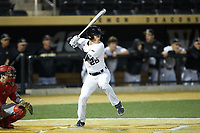 Michael Wein (26) of the Wake Forest Demon Deacons at bat against the Sacred Heart Pioneers at David F. Couch Ballpark on February 15, 2019 in  Winston-Salem, North Carolina.  The Demon Deacons defeated the Pioneers 14-1. (Brian Westerholt/Four Seam Images)