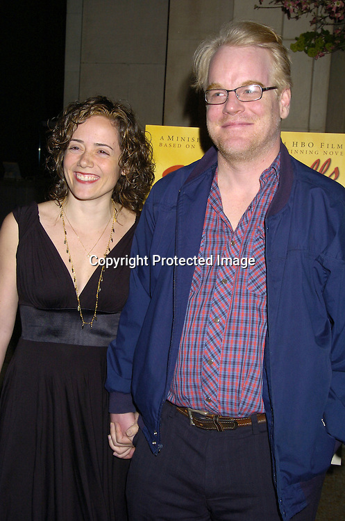 """Mimi and Philip Seymour Hoffman..at a screening of HBO Films """"Empire Falls"""" at the Metropolitan Museum of Art on May 9, 2005..Photo by Robin Platzer, Twin Images"""