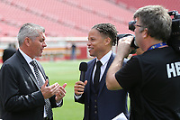 Santa Clara, CA - Tuesday, March 07, 2017: Michael Findlay, Cobi Jones during the unveiling of the CONCACAF 2017 Gold Cup Groups & Schedule at Levi's Stadium.