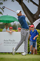 Lloyd Jefferson GO (PHI) watches his tee shot on 12 during Rd 4 of the Asia-Pacific Amateur Championship, Sentosa Golf Club, Singapore. 10/7/2018.<br /> Picture: Golffile | Ken Murray<br /> <br /> <br /> All photo usage must carry mandatory copyright credit (&copy; Golffile | Ken Murray)