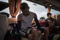 Robin Stenuit (BEL/Wanty-Groupe Gobert) pre-race prepping in the team bus <br /> <br /> GP Le Samyn 2017 (1.1)