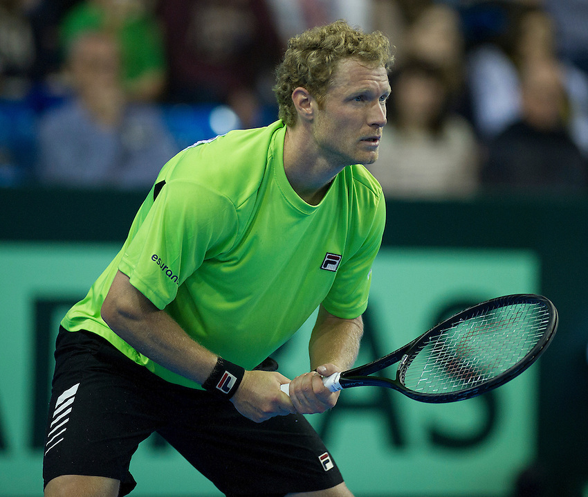 Russia's Dimitry Tursunov in action during his defeat by Great Britain's James Ward in their singles match today - James Ward (GBR) def Dimitry Tursunov (RUS) 6-4 5-7 5-7 6-4 6-4. - (Photo by Stephen White)..International Tennis -  - Davis Cup by BNP Paribas - Europe/Africa Zone Group I Second Round - Great Britain v Russia - Day 3 - Sunday 7th April 2013 - Ricoh Arena - Coventry - UK..© CameraSport - 43 Linden Ave. Countesthorpe. Leicester. England. LE8 5PG - Tel: +44 (0) 116 277 4147 - admin@camerasport.com - www.camerasport.com