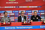 14.04.2018, BayArena, Leverkusen , GER, 1.FBL., Bayer 04 Leverkusen vs. Eintracht Frankfurt<br /> im Bild / picture shows: <br /> Pressekonferenz (PK) nach dem Spiel,  li Trainer / Headcoach Niko Kovic (Eintracht Frankfurt),  Dirk Mesch Pressesprecher Bayer 04 Leverkusen Heiko Herrlich Trainer (Bayer Leverkusen),<br /> <br /> <br /> Foto &copy; nordphoto / Meuter