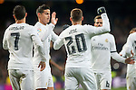 Real Madrid's Cristiano Ronaldo, James Rodriguez and Jese Rodriguez celebrating a goal during La Liga match. March 20,2016. (ALTERPHOTOS/Borja B.Hojas)
