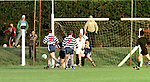 The buid-up to the controversal penalty in the Meath S.F.C. match between Simonstown Gaels and Navan O'Mahony's. Referee David Coldrick can be seen right up with the play on the right hand side of the photograph..Pic John Quirke / Newsfile