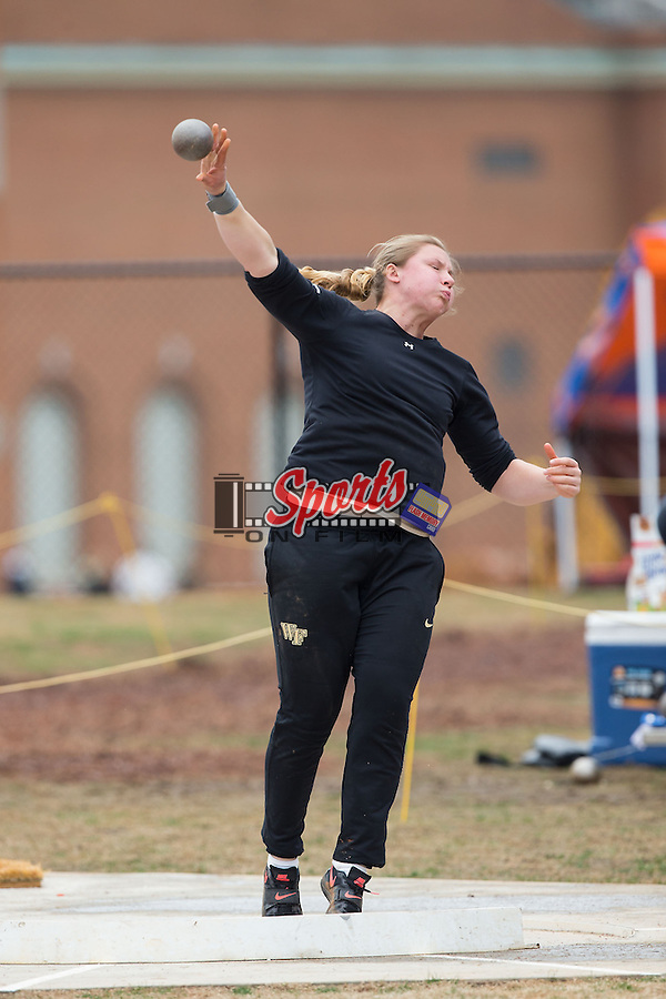 Casidy Callahan of the Wake Forest Demon Deacons competes in the women's shot put at the Wake Forest Open on March 20, 2015 in Winston-Salem, North Carolina.  (Brian Westerholt/Sports On Film)