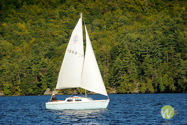 Lake George, Adirondacks  with sailboat.